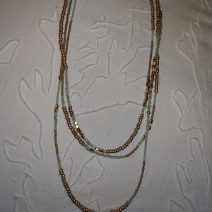 Necklace 3 strand gold and aqua